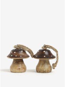 Súprava dvoch hnedých ozdôb v tvare muchotrávky Sass & Belle Toadstool
