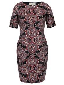 Vínovo–čierne vzorované šaty s krátkym rukávom Billie & Blossom