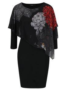 Černé šaty s květovaným volánem Desigual Alexandre