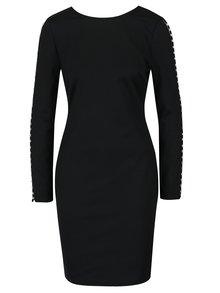 Čierne šaty s véčkovým výstrihom na chrbte a aplikáciou na rukávoch Dorothy Perkins