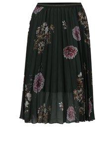Tmavozelená plisovaná sukňa s kvetinovým vzorom Desigual Lisa