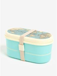 Tyrkysový box na jídlo s potiskem mapy světa Sass & Belle Vintage Map