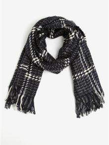 Fular bleumarin cu carouri si fibre metalice - ONLY Alina