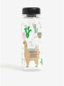 Zeleno-biela fľaša na vodu s motívom lamy Sass & Belle Lima Llama