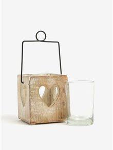 Svetlohnedý závesný svietnik s otvormi v tvare sŕdc Sass & Belle Cubic