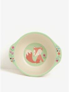 Béžovo-zelená dětská miska s motivem lišky Sass & Belle Woodland Friends
