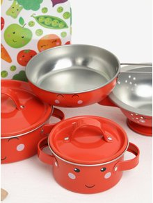 Detská kuchynská súprava v oranžovo-zelenej farbe s motívom ovocia a zeleniny Sass & Belle Happy Fruit & Veg