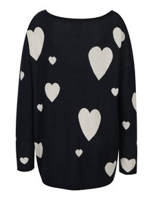 Tmavomodrý sveter s motívom sŕdc ONLY Valentine