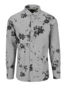 Světle šedá vzorovaná slim fit košile ONLY & SONS Bille