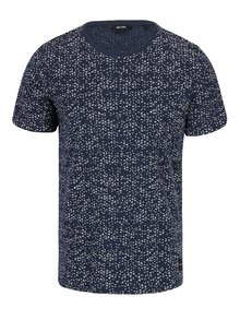 Tricou bleumarin cu print abstract crem - ONLY & SONS Akim