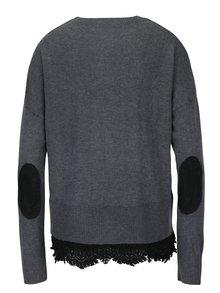 Sivý tenký sveter s nášivkou a čipkou Desigual Rosalia