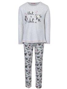 Sivé dievčenské vzorované pyžamo s dlhým rukávom BÓBOLI
