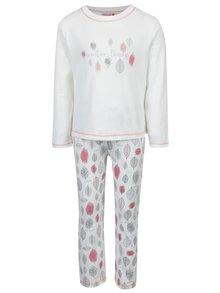 Krémové dievčenské vzorované pyžamo s dlhým rukávom BÓBOLI