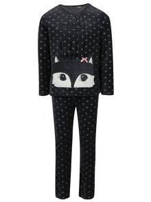 Tmavosivé dievčenské bodkované zamatové pyžamo BÓBOLI
