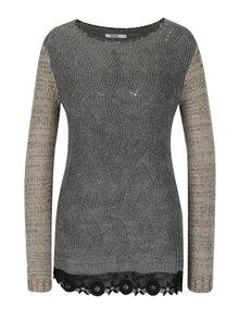 Šedý svetr s krajkovým lemem s příměsí vlny z alpaky Desigual Samuel