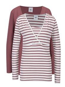 Set de 2 tricouri rosu caramiziu& crem pentru viitoare mamici - Mama.licious Lea