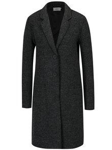 Tmavosivý melírovaný kabát s prímesou vlny ONLY New Ella
