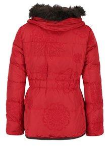 Červená péřová zimní bunda s odnímatelnou kapucí Desigual Cecilia
