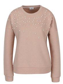 Bluza roz deschis cu umeri cazuti si perle aplicate - ONLY Damian