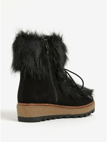 Čierne zimné čižmy s umelou kožušinou Tamaris