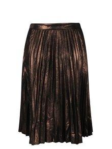 Hnedá metalická plisovaná sukňa ONLY Joyce