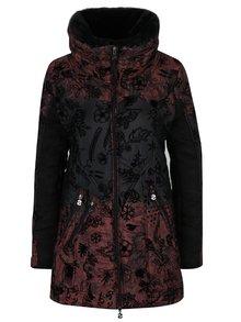 Čierno–vínový kabát s vysokým golierom a odnímateľnou kožušinou Desigual Bratislava