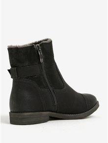 Čierne zimné členkové topánky s umelou kožušinou Tamaris
