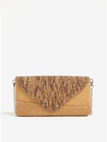 Světle hnědá dřevěná crossbody kabelka/psaníčko s korkovou klopou Lemnia
