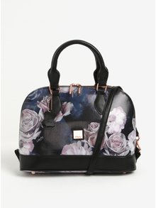 Geanta neagra cu print floral si manere Liberty by Gionni Fleur