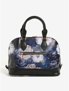 Geanta neagra cu print floral si manere Liberty by Gionni Fleur