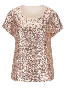 Bluza cu paiete roz si spate partial transparent - ONLY Zille