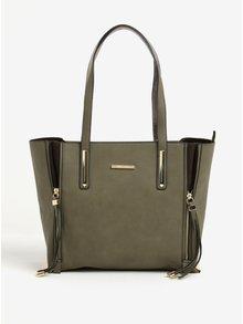 Zelená kabelka do ruky s třásněmi Liberty by Gionni Audra