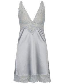 Mentolová saténová noční košilka s krajkovými detaily Eden Lingerie