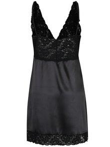 Černá saténová noční košilka s krajkovými detaily Eden Lingerie