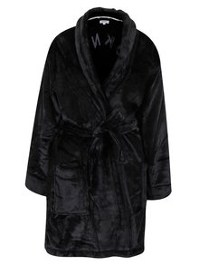 Halat de baie negru cu broderie - DKNY