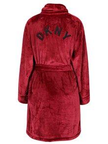 Vínový župan s výšivkou na zádech DKNY