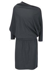 Sivé asymetrické Zero-waste šaty s 3/4 rukávom Skunkfunk Malmia
