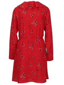Červené květované šaty s volánem VERO MODA Parisan