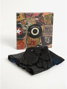 Pánska darčeková súprava čiernych kožených rukavíc a šálu Portland