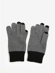 Šedé pánské žíhané rukavice s.Oliver