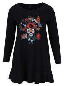 Černé tričko s potiskem a dlouhým rukávem Ulla Popken