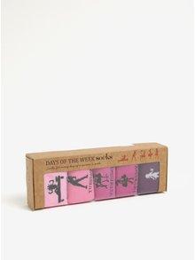 Set de 5 perechi de sosete roz&violet cu print zilele saptamanii Something Special