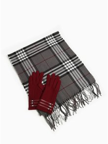 Set fular negru&gri in carouri + manusi bordo din amestec de lana Something Special