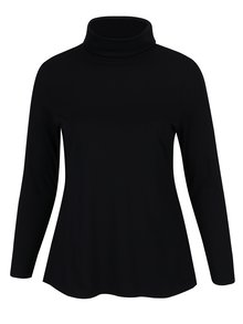 Čierne tričko s rolákom a dlhým rukávom Ulla Popken
