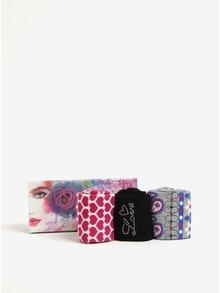 Dárková sada tří párů dámských ponožek v černé, šedé a růžové barvě Something Special