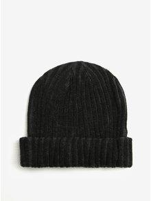 Šedo-černá dámská žebrovaná čepice s.Oliver