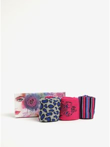 Set de 3 perechi de sosete gri, roz si albastru cu model  Something Special
