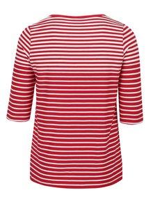 Červené pruhované tričko s 3/4 rukávem Ulla Popken