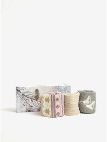 Darčeková súprava troch párov dámskych vlnených ponožiek v sivej a krémovej farbe Something Special