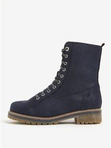 Tmavě modré dámské kožené zimní kotníkové boty s.Oliver
